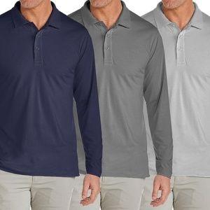 3 Long Sleeve Pique Long Sleeve Polo Shirts